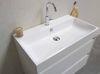 Bewonen Loft badmeubel met polystone wastafel met 1 kraangat en onderkast symmetrisch - Mat zwart/Glans wit - 80x46cm (bxd)