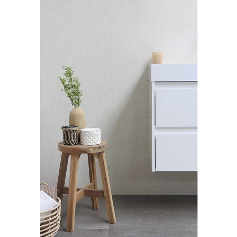 Bewonen Loft badmeubel met polystone wastafel zonder kraangat en onderkast symmetrisch - Mat zwart/Mat wit - 80x46cm (bxd)