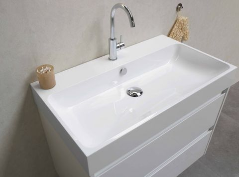 Bewonen Loft badmeubel met polystone wastafel met 2 kraangaten en onderkast symmetrisch - Glans wit/Mat wit - 100x46cm (bxd)