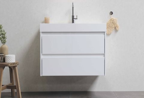 Bewonen Loft badmeubel met polystone wastafel met 1 kraangat en onderkast symmetrisch - Mat zwart/Glans wit - 100x46cm (bxd)