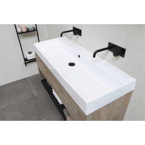 Bewonen Loft badmeubel met polystone wastafel met 2 kraangaten en onderkast symmetrisch - Raw oak/Glans wit - 100x46cm (bxd)