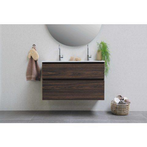 Bewonen Loft badmeubel met polystone wastafel met 2 kraangaten en onderkast symmetrisch - Cabana oak/Glans wit - 100x46cm (bxd)