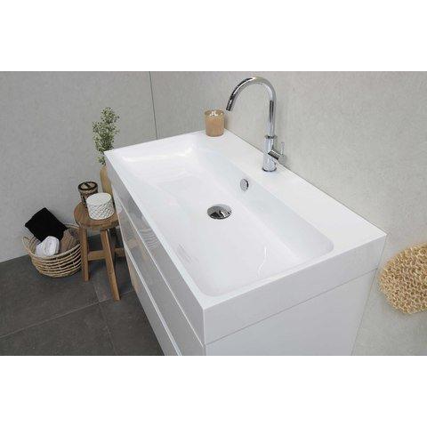 Bewonen Loft badmeubel met polystone wastafel met 2 kraangaten en onderkast symmetrisch - Ideal oak/Mat wit - 120x46cm (bxd)