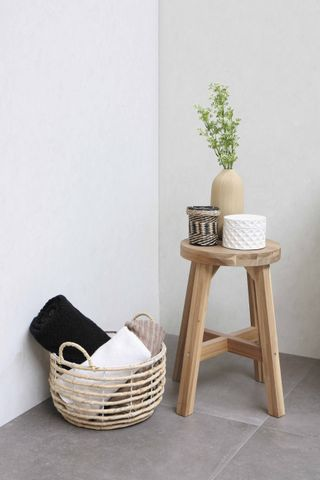 Bewonen Loft badmeubel met polystone wastafel met 1 kraangat en onderkast a-symmetrisch - Ideal oak/Glans wit - 60x46cm (bxd)