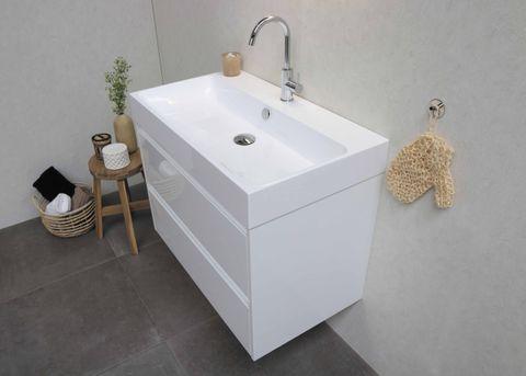 Bewonen Loft badmeubel met polystone wastafel met 1 kraangat en onderkast a-symmetrisch - Ideal oak/Mat wit - 60x46cm (bxd)