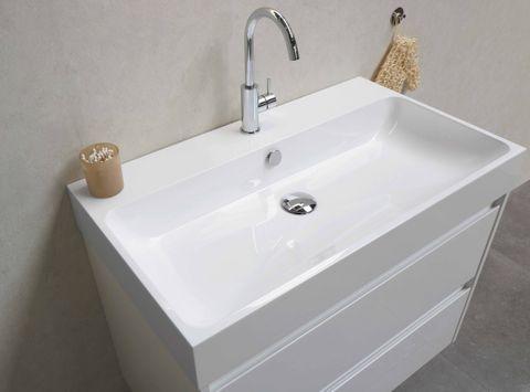 Bewonen Loft badmeubel met polystone wastafel zonder kraangat en onderkast a-symmetrisch - Cabana oak/Mat wit - 60x46cm (bxd)