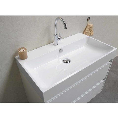 Bewonen Loft badmeubel met polystone wastafel met 1 kraangat en onderkast a-symmetrisch - Glans wit/Glans wit - 80x46cm (bxd)