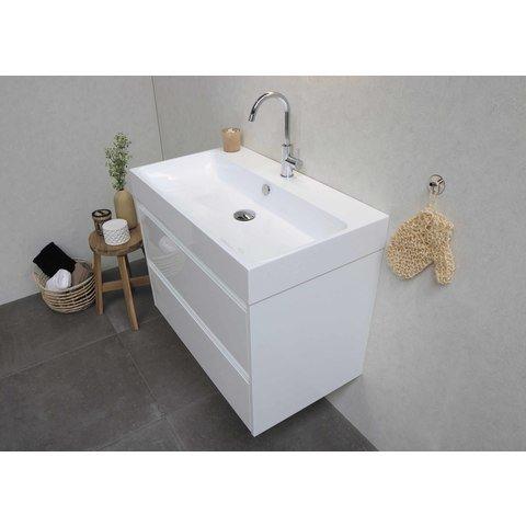 Bewonen Loft badmeubel met polystone wastafel zonder kraangat en onderkast a-symmetrisch - Ideal oak/Mat wit - 80x46cm (bxd)