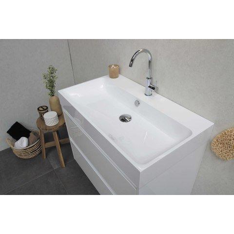 Bewonen Loft badmeubel met polystone wastafel met 1 kraangat en onderkast a-symmetrisch - Glans wit/Glans wit - 100x46cm (bxd)