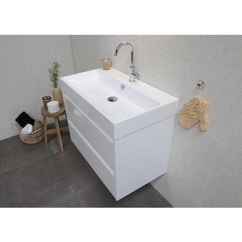 Bewonen Loft badmeubel met polystone wastafel zonder kraangat en onderkast a-symmetrisch - Mat wit/Glans wit - 100x46cm (bxd)