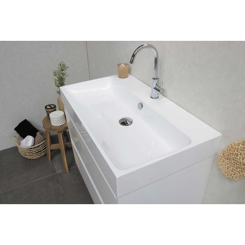 Proline Loft badmeubel met polystone wastafel zonder kraangat en onderkast a-symmetrisch - Mat wit/ Mat wit - 100x46cm (bxd)