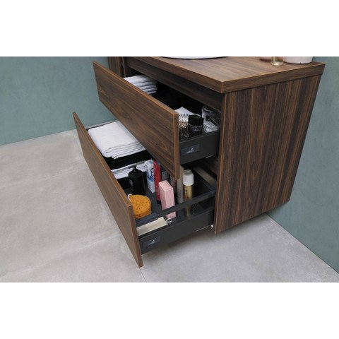 Bewonen Loft badmeubel met polystone wastafel zonder kraangat en onderkast a-symmetrisch - Ideal oak/Glans wit - 100x46cm (bxd)