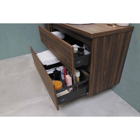Bewonen Loft badmeubel met polystone wastafel met 2 kraangaten en onderkast a-symmetrisch - Ideal oak/Mat wit - 100x46cm (bxd)
