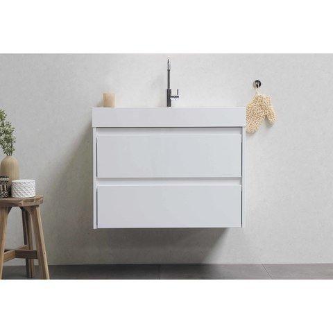Bewonen Loft badmeubel met polystone wastafel met 1 kraangat en onderkast a-symmetrisch - Glans wit/Mat wit - 120x46cm (bxd)