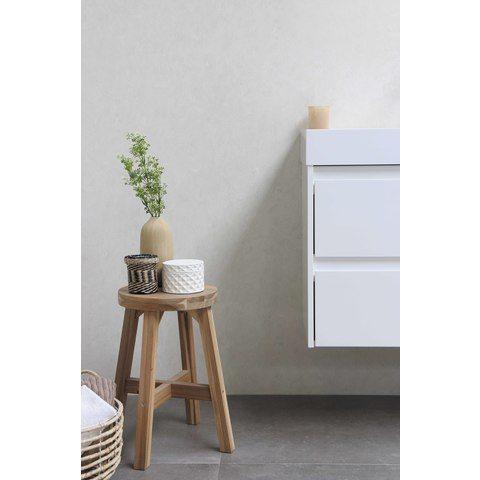 Bewonen Loft badmeubel met polystone wastafel met 2 kraangaten en onderkast a-symmetrisch - Ideal oak/Mat wit - 120x46cm (bxd)