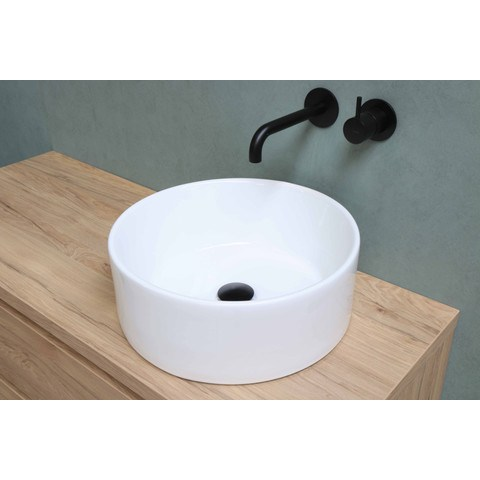 Bewonen opzetwastafel rond cilinder porselein - Glans wit - 39cm