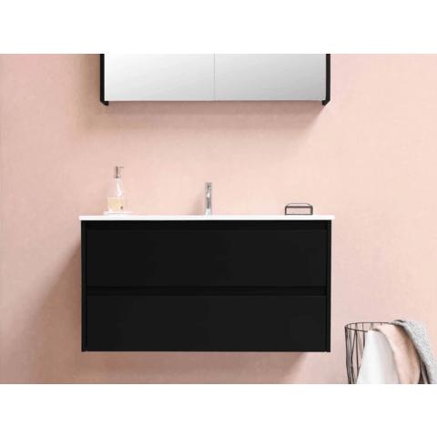 Bewonen Comfort spiegelkast met 2 houten deuren - Glans wit - 100x60cm