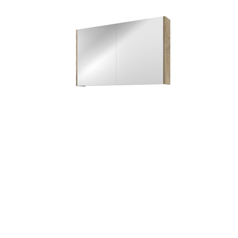 Bewonen Comfort spiegelkast met 2 houten deuren - Raw oak - 100x60cm