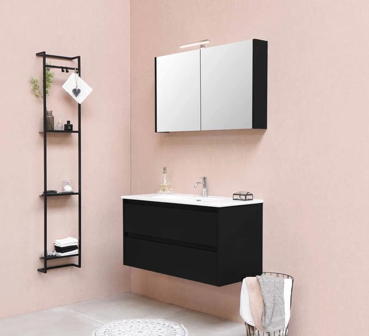 Bewonen Comfort Spiegelkast Met 2 Houten Deuren Cabana Oak 100x60cm 1808653
