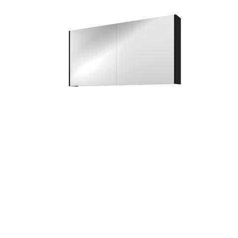Bewonen Comfort spiegelkast met 2 houten deuren - Mat zwart - 120x60cm