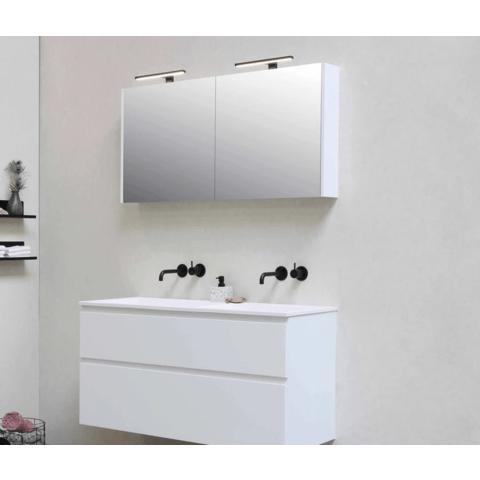 Bewonen Xcellent spiegelkast met 2 glazen deuren - Glans wit - 80x60cm