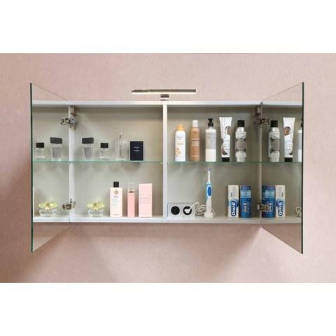 Bewonen Xcellent spiegelkast met 2 glazen deuren - Cabana oak - 80x60cm