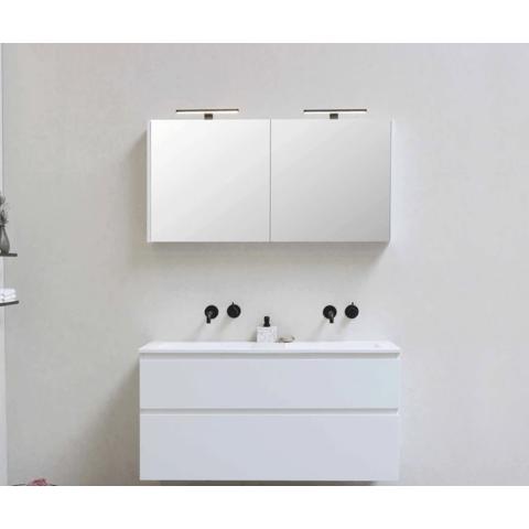 Bewonen Xcellent spiegelkast met 2 glazen deuren - Glans wit - 100x60cm