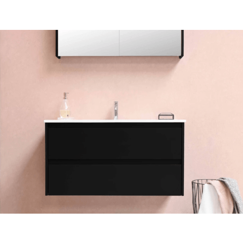 Bewonen Xcellent spiegelkast met 2 glazen deuren - Mat wit - 100x60cm