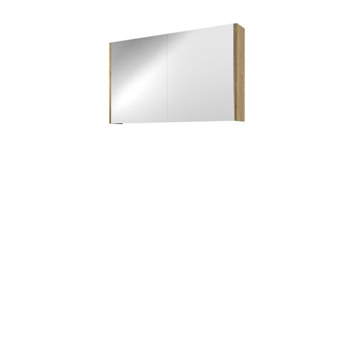 Bewonen Xcellent spiegelkast met 2 glazen deuren - Ideal oak - 100x60cm