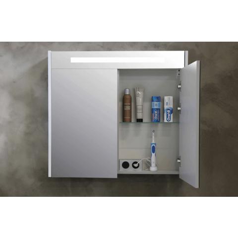 Bewonen Premium spiegelkast met LED verlichting - met houten deur - Glans wit - 60x74cm