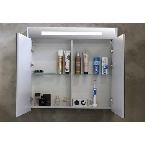 Bewonen Premium spiegelkast met LED verlichting - met houten deur - Mat zwart - 60x74cm