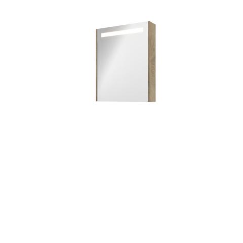 Bewonen Premium spiegelkast met LED verlichting - met houten deur - Raw oak - 60x74cm