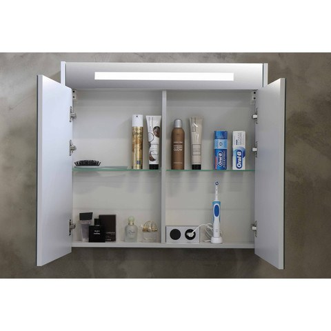Bewonen Premium spiegelkast met LED verlichting - met houten deur - Cabana oak - 60x74cm