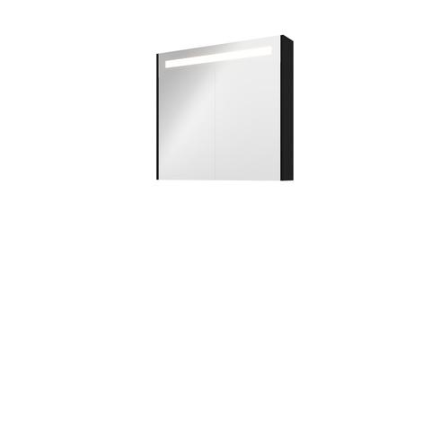 Bewonen Premium spiegelkast met LED verlichting - met 2 houten deur - Mat zwart - 80x74cm