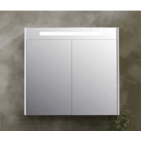 Bewonen Premium Spiegelkast - Glans wit - 100x14cm (bxd)
