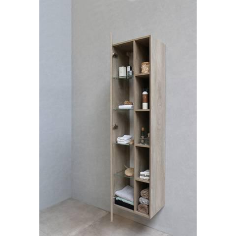 Bewonen hoge kast 1 deur met 5 open schappen - Raw oak - 169x45,5x35cm