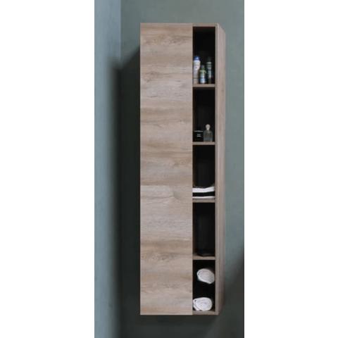 Bewonen Hoge kast 1 deur met 5 schappen en inclusief 4 glazen planchettes - Raw oak - 45,5x35cm (bxd)