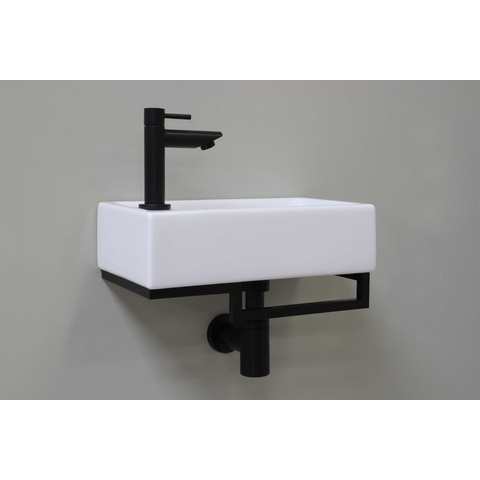 Bewonen Loft fonteinpack porselein met kraangat links - met stalen frame - toebehoren mat zwart