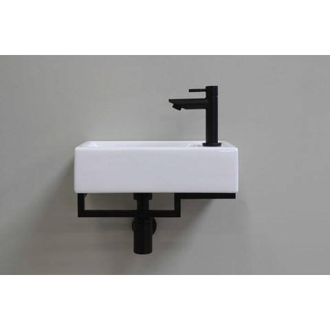 Bewonen Loft fonteinpack porselein met kraangat rechts - met stalen frame - toebehoren mat zwart