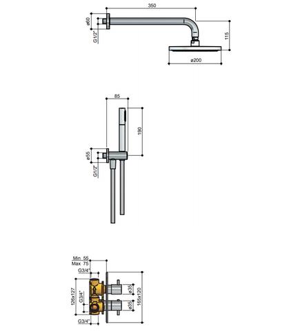 Hotbath IBS 2A Get Together inbouw doucheset Laddy vierkant - geborsteld nikkel - met staafhanddouche - 20cm hoofddouche - met wandarm - zonder glijstang