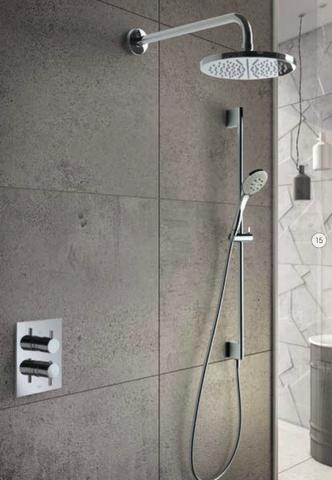 Hotbath IBS 2A Get Together inbouw doucheset Laddy vierkant - geborsteld nikkel - met ronde 3 standen handdouche - 25cm hoofddouche - met plafondbuis 15cm - met glijstang