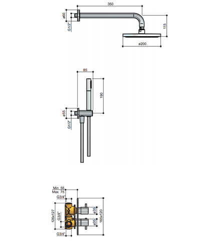 Hotbath IBS 2A Get Together inbouw doucheset Laddy vierkant - geborsteld nikkel - met staafhanddouche - 30cm hoofddouche - met plafondbuis 15cm - zonder glijstang