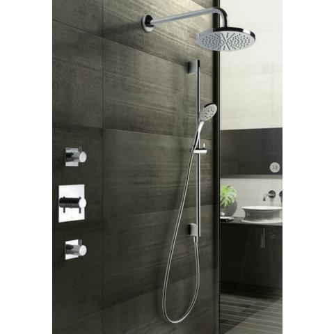 Hotbath IBS 2 Get Together inbouw doucheset Laddy vierkant - geborsteld nikkel - met ronde 3 standen handdouche - 20cm hoofddouche - met wandarm - zonder glijstang