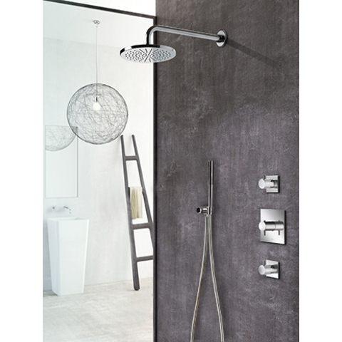Hotbath IBS 2 Get Together inbouw doucheset Laddy vierkant - geborsteld nikkel - met ronde 3 standen handdouche - 25cm hoofddouche - met plafondbuis 15cm - met glijstang