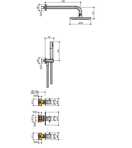 Hotbath IBS 2 Get Together inbouw doucheset Laddy vierkant - geborsteld nikkel - met staafhanddouche - 20cm hoofddouche - met plafondbuis 15cm - met glijstang