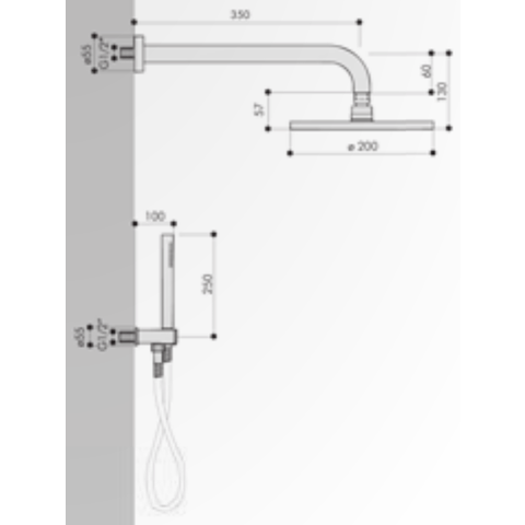 Hotbath IBS 5 Get Together inbouw doucheset Friendo chroom - met ronde 3-standen handdouche - plafondbuis 30cm - hoofddouche 25cm - wandsteun