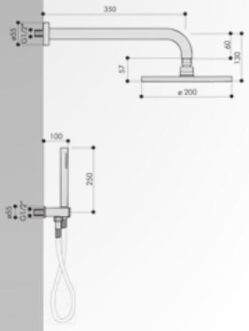 Hotbath IBS 5 Get Together inbouw doucheset Friendo geborsteld nikkel - met ronde 3-standen handdouche - plafondbuis 15cm - hoofddouche 30cm - wandsteun