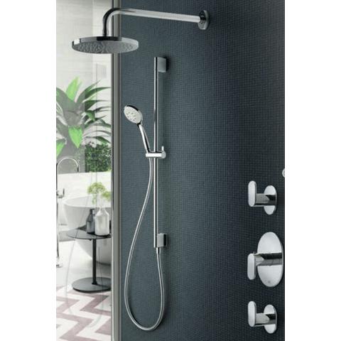 Hotbath IBS 5 Get Together inbouw doucheset Friendo geborsteld nikkel - met ronde 3-standen handdouche - plafondbuis 30cm - hoofddouche 30cm - wandsteun