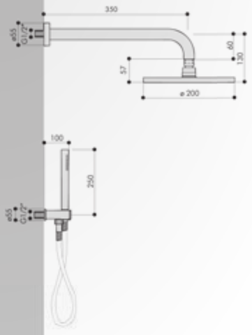 Hotbath IBS 5 Get Together inbouw doucheset Friendo geborsteld nikkel - met ronde 3-standen handdouche - plafondbuis 30cm - hoofddouche 30cm - glijstang