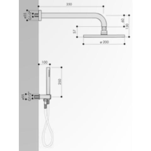 Hotbath IBS 5 Get Together inbouw doucheset Friendo geborsteld nikkel - met staafhanddouche - plafondbuis 15cm - hoofddouche 20cm - wandsteun